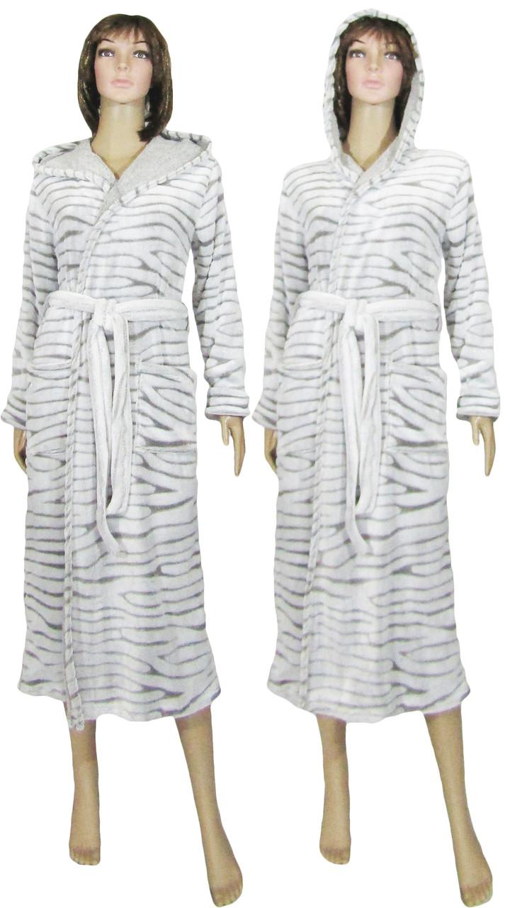 Халат махровый женский длинный с капюшоном 03517-1 Шиншилла, р.р. 42-56