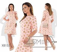 """Удивительное женское платье """"Хлопок+стрейч костюмная"""" 54, 56, 58, 60, 62 размер батал"""