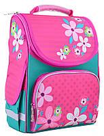 Рюкзак каркасный школьный Smart PG-11 Flowers pink, 31*26*14