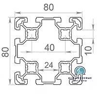 Станочный профиль | Конструкционный, без покрытия, 80х80
