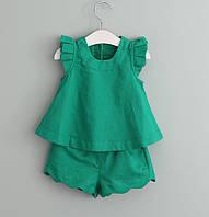 Комплект льняной Блуза и Шорты (зел)110, 130,140, фото 1