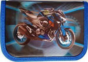 Пенал твердий одинарний з двома клапанами 3D Smile, Різні різновиди Мотоцикл синій