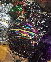 Модный рюкзак с пайетками разноцветный детский женский с ушками, оптом в Украине