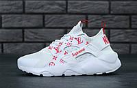 Кроссовки женские белые коллаборация Nike Huarache х Supreme х Louis Vuitton Найк Хуараче х Суприм