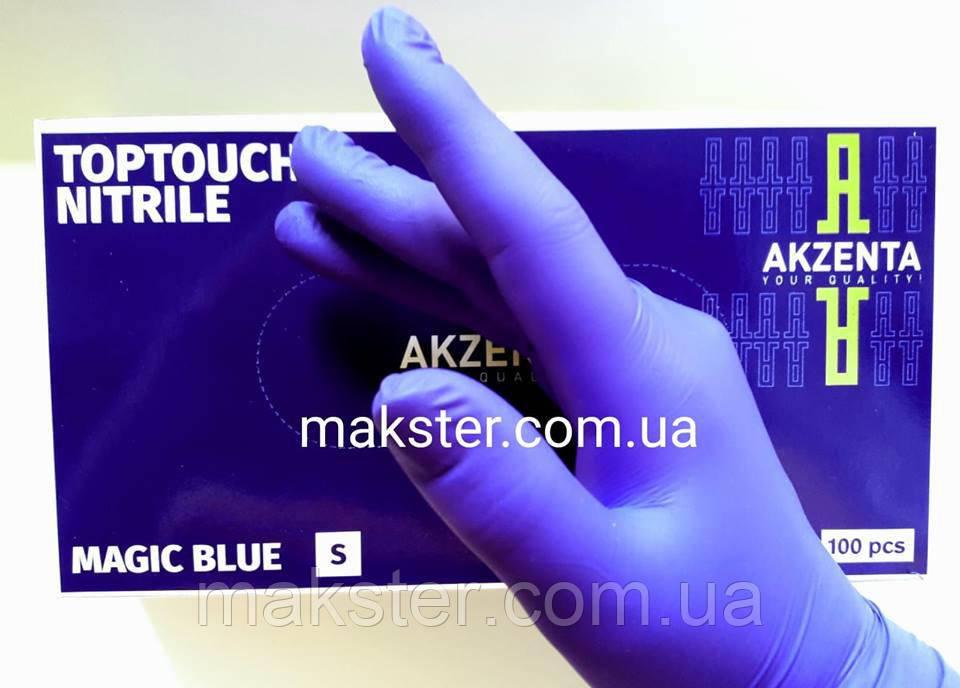 Перчатки нитриловые Akzenta magic blue