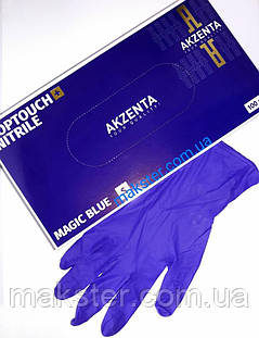 Перчатки нитриловые Akzenta magic blue, фото 2