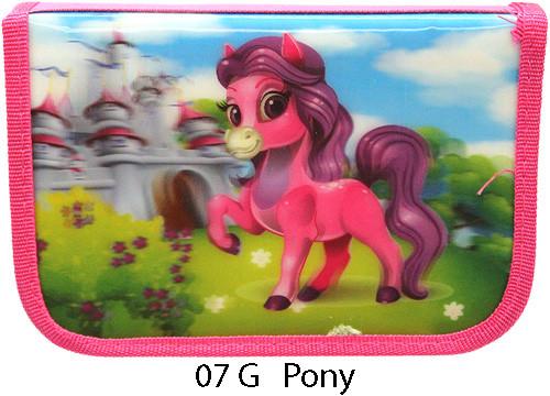 Пенал твердый одинарный с двумя клапанами 3D Smile, Пони
