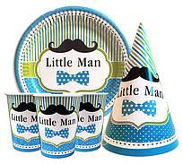 """Набор для детского дня рождения """"Little Man"""". Тарелки, стаканы, колпачки по 10шт."""