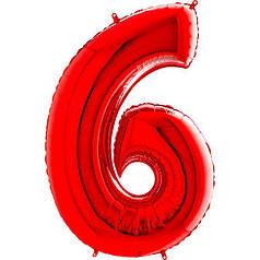 Шар Цифра 6 Красная Грабо