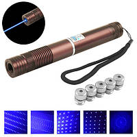 Фонарь-лазер синий YX-B008, 2*16340, 5 насадок