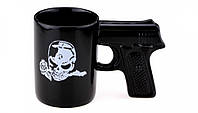 Черная чашка пистолет череп 4 вида Купи настоящую мужскую кружку с оригинальной ручкой  Код: КГ4919