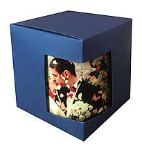 Картонная упаковка для кружек с дизайнерского картона, синяя