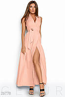 Летнее платье макси на запах без рукав костюмная ткань пудрово розовое