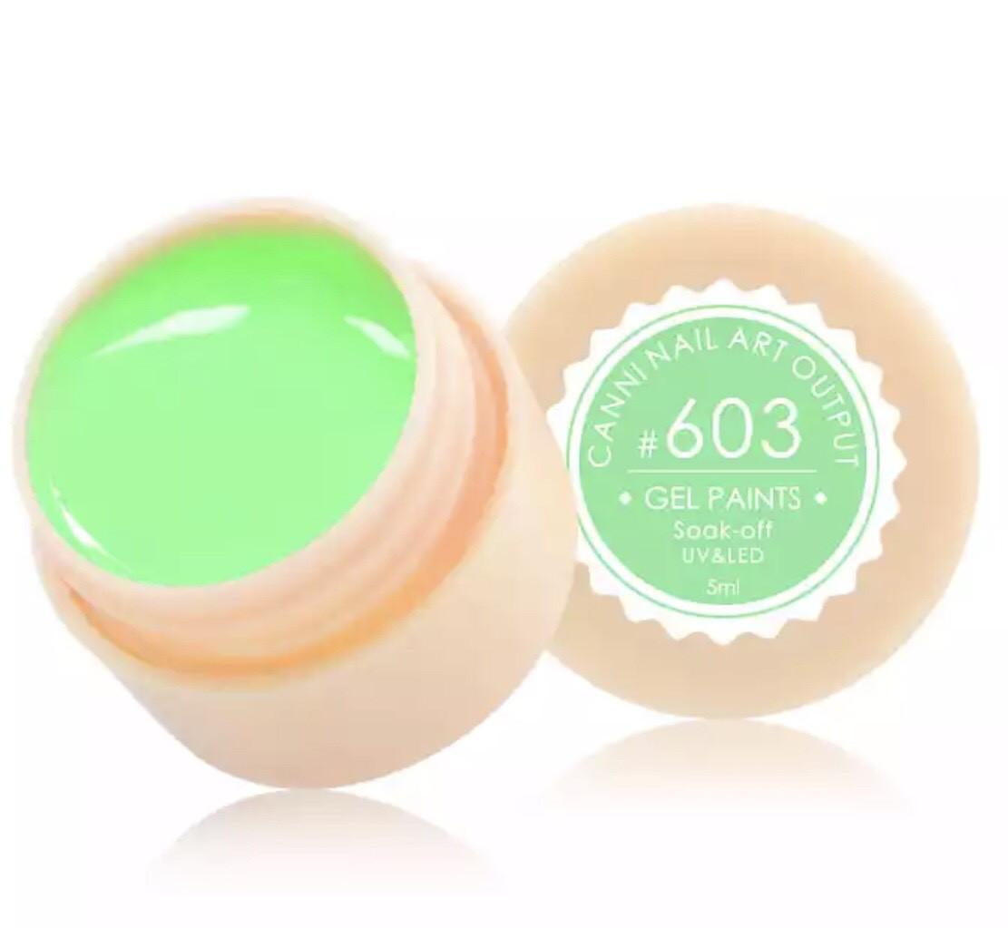 Гель-краска CANNI 603 (зеленая мята), 5 мл