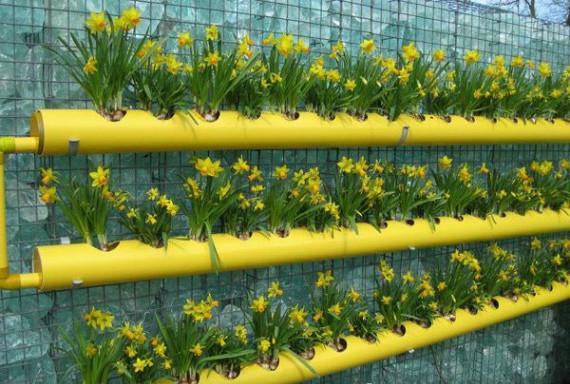 грядки из труб для цветов
