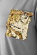 Модная футболка с карманом на груди ЛАЛА серая (54-60), фото 2