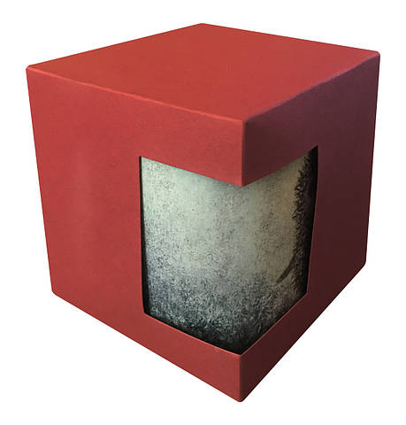 Картонная упаковка для кружек с дизайнерского картона, бордовая