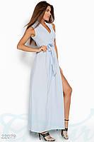Красивое платье в пол на запах с поясом без рукав нежно голубое
