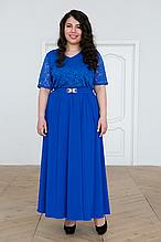 Платье вечернее с гипюром АЛАНА электрик (56-60)