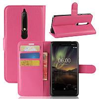 Чехол Nokia 6.1 / Nokia 6 New 2018 книжка PU-Кожа розовый