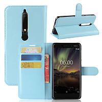 Чехол Nokia 6.1 / Nokia 6 New 2018 книжка PU-Кожа голубой