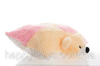 Подушка-игрушка  мишка 45 см персиковый с розовым