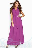 Летнее платье из костюмной ткани на запах длинное в один тон сиреневое