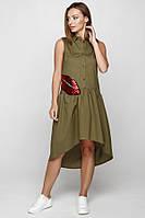 Интересное молодежное платье цвета хаки, фото 1