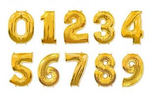 Шар цифра 60 см золото