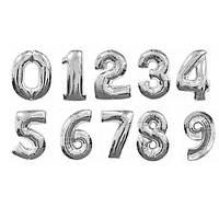 Куля цифра 60 см срібло