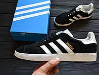 Кроссовки Adidas Gazelle Black Suede (Реплика ААА+), фото 1