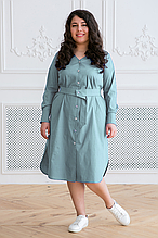 Платье-рубашка с поясом ТЭССА светло-оливковое (54-60)