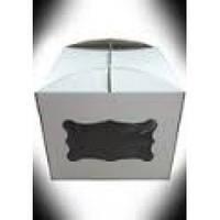 Картонная коробка для торта 3 штуки (300*300*250) с окном