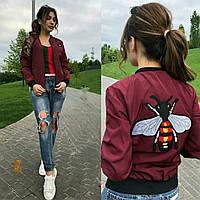 Женская куртка-бомбер принт на спине Батал до 54р 16446-1