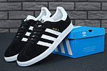 Кроссовки Adidas Gazelle Black Suede (Люкс реплика ААА+), фото 5