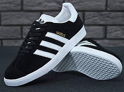 Кроссовки Adidas Gazelle Black Suede (Люкс реплика ААА+)