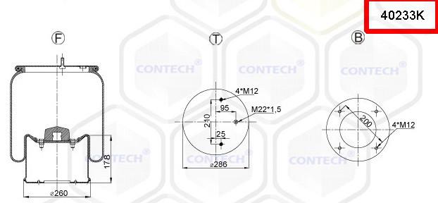 Пневмоподушка (с мет стаканом) SAF 2923V, 2 шпильки-воздух, 4023NP03, W01M586348, 08410172, 1D28B10, D13B26,