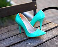 Женские туфли лодочки на шпильке Ментол