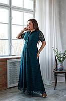 Шикарное вечернее платье цвет бутылочный больших размеров 48,50,52,54,56,58