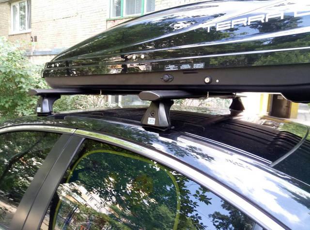 Бокс Terra Drive 480 глянцевый и багажник Cruz на Mazda 6 -1