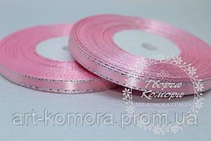 Атласная лента с СЕРЕБРЯНЫМ люрексом, рулон, 0,6 см, розовая