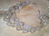 Лунный камень в серебре. Шикарное колье, ожерелье с природным лунным камнем., фото 4
