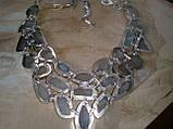 Лунный камень в серебре. Шикарное колье, ожерелье с природным лунным камнем., фото 5