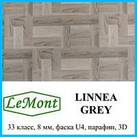 Ламинат серого цвета с имитацией паркета толщиной 8 мм LeMount Nordik 33 класс, Linnea grey