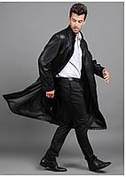 Длинный мужской кожаный плащ 3 вида