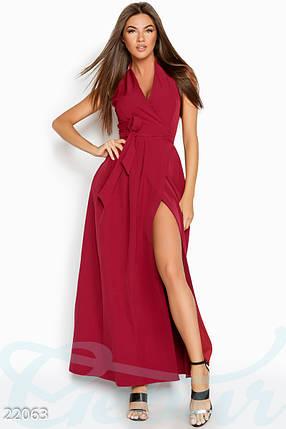 Стильное платье на лето запахивается длинное без рукав с карманами цвет марсала, фото 2