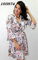 "Халат шелковый ""Кармелита-цветы"" 44-48р, фото 1"