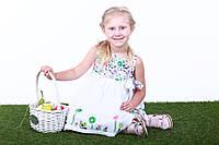 Детское платье для девочек с цветами, р. 98, 104, 110, 116, 122, Белое