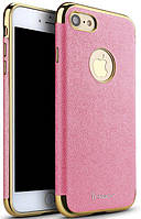 Чехол-накладка Ipaky Chrome connector + Leather Back case iPhone 7 Pink/Gold