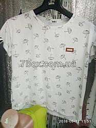 Футболка J M со значком Fashion Зонтики (46-50 универсальный) Полуботал